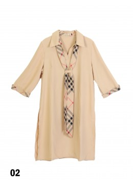 Vintage Check Tie Shirt Dress