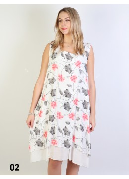 Blossom Print Flowy Button Shoulder Dress