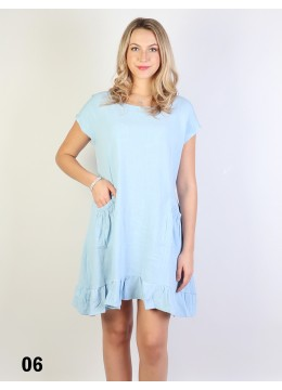 Fashion Flowy Short Sleeves Summer Dress W/Pocket