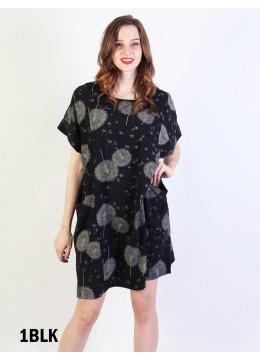 Dandelion Print Dress W/ Pockets/Black