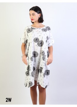 Dandelion Print Dress W/ Pockets/White