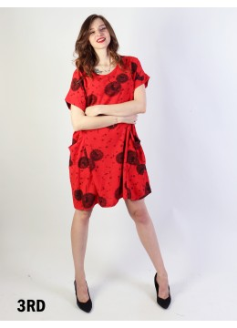 Dandelion Print Dress W/ Pockets/Red