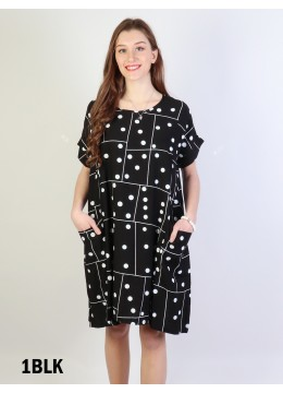 Polka Dot Shift Dress W/ Pockets- Black
