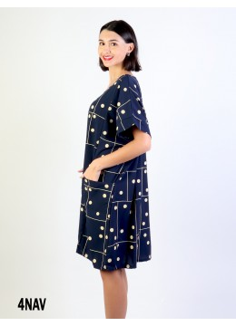 Polka Dot Shift Dress W/ Pockets - Navy