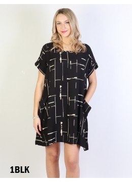 Linear Print Shift Dress W/ Pockets/ BLACK