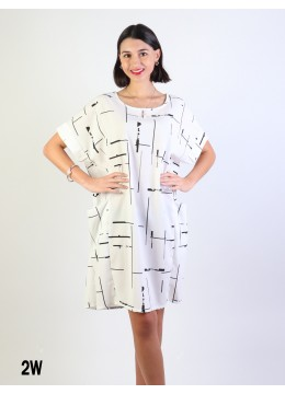 Linear Print Shift Dress W/ Pockets/ White