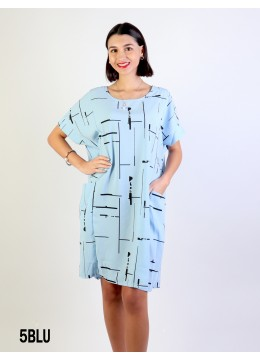 Linear Print Shift Dress W/ Pockets/ Blue