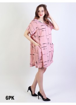 Linear Print Shift Dress W/ Pockets/ Pink