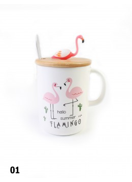 Flamingo Print Mug W/ Spoon and Flamingo Lid
