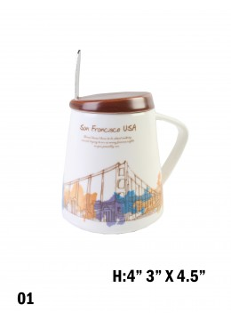 Landmark Print Mug with Spoon & Lid /Golden Gate Bridge