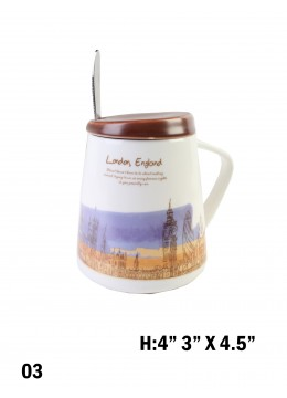Landmark Print Mug with Spoon & Lid /London Skyline