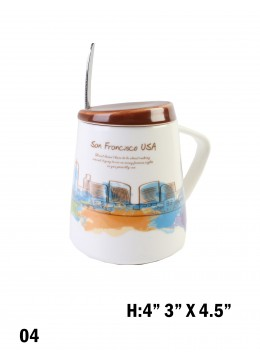Landmark Print Mug with Spoon & Lid /San Francisco