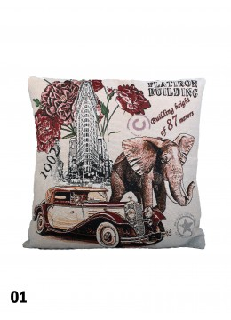 Flatiron Building & Elephant Print Cushion