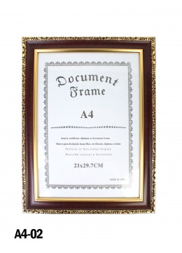 Wooden Document Frame W/ Gold lining (A4)