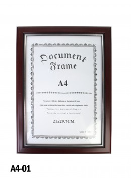 Glossy Red Wood Document Frame (A4)