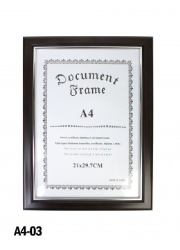 Glossy Black Wood Document Frame (A4)