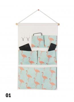 5 Pocket Organizer Storage Rack W/ Flamingo Print