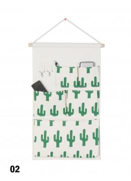 5 Pocket Organizer Storage Rack W/ Cactus Print