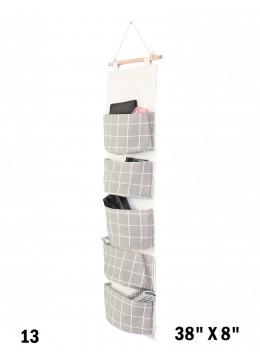 Big Pocket Wall Hanging Organizer  W/ Grey Plaid Print