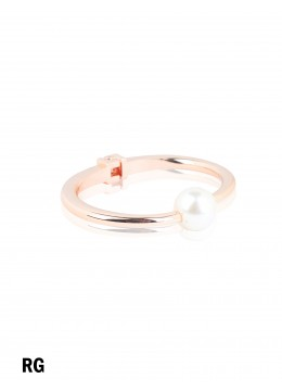 Solid Color Bangle With Pearl /Rose Gold