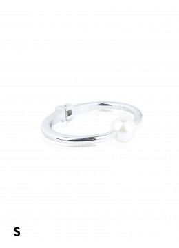 Solid Color Bangle With Pearl /Silver
