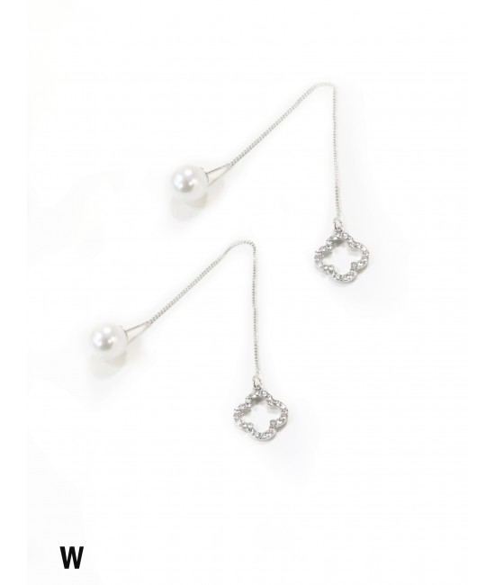 Double Wear Rhinestone Flower Long Drop Earring W/ Pearl