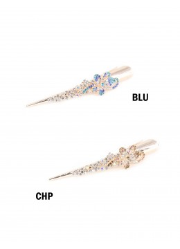 Flower Dance Gold Tone Rhinestone Hair Clip /Blue /Champagne