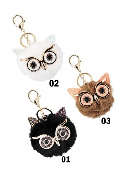 Owl Key Chain W/ Fur Ball