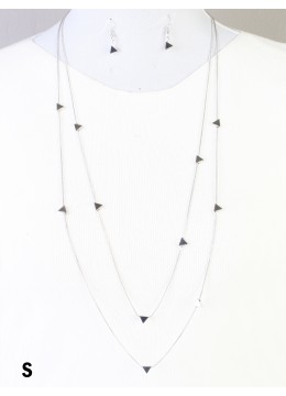 Triangle Beads Double Layers W/Earrings