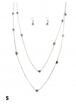 Flat Beaded Heart Double Layer Necklace W/ Earrings