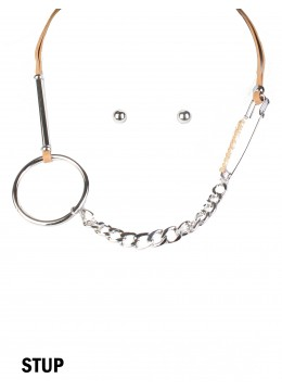 Multi-Function Circle & Brooch Clip Necklace & Earring Set