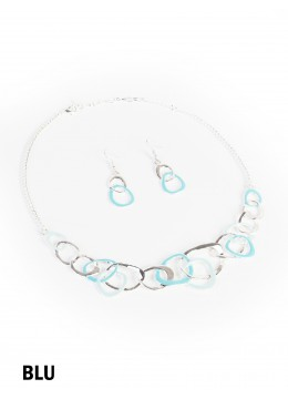 Adjustable Two Tone Abstract Necklace And Earring Set