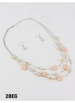 Fashion Mixed Beads Necklace and Earrings Set