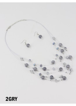 Fashion Round Beads Necklace and Earrings Set