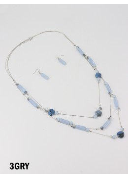 Fashion Rectangular Beads Necklace and Earrings Set