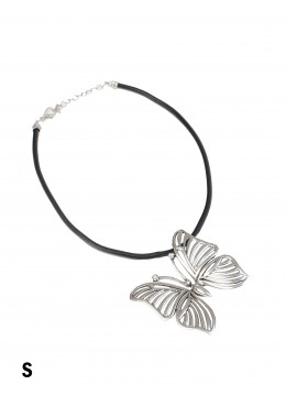 Rope Necklace W/ Tilted Butterfly Pendant