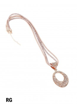 Sparkle Tube Necklace & Circle Pendant /Rose Gold