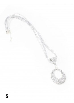 Sparkle Tube Necklace & Circle Pendant /Silver