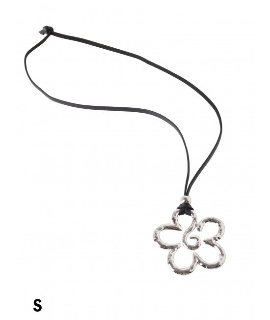 Rope Necklace W/ Flower Pendant /Silver