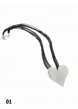 Rope Necklace W/ Silver Heart Pendant
