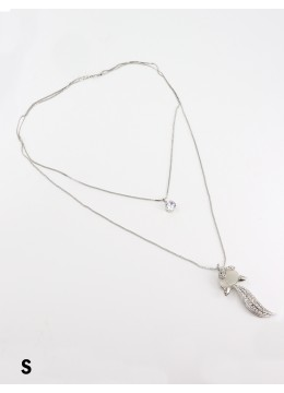 Rhinestone Double Layer Necklaces W/ Squirrel