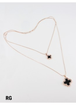 Rhinestone Double Layer Necklaces W/ Black Clover