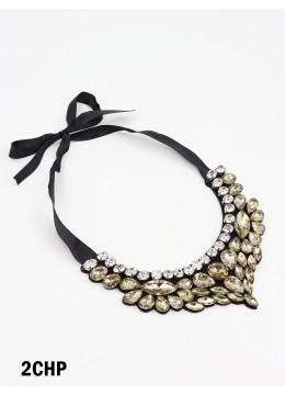 Shine Rhinestone Floral Band Rope Necklace