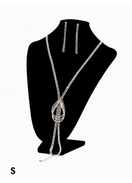 Triple Teardrops Rhinestone Fashion Necklace & Earring Set