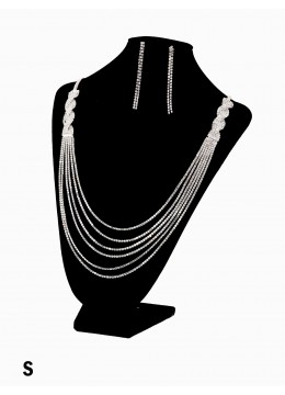 Braid Rhinestone Fashion Necklace & Earring Set