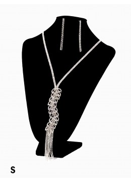 Rhinestone Leaves with Tassels Fashion Necklace & Earring Set