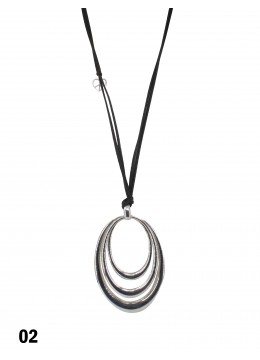 Rope Necklace W/ Triple Oval Ring Pendant