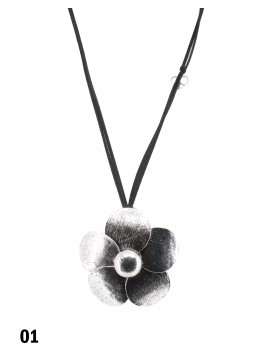 Multi Ropes Necklace W/ Flower Pendant