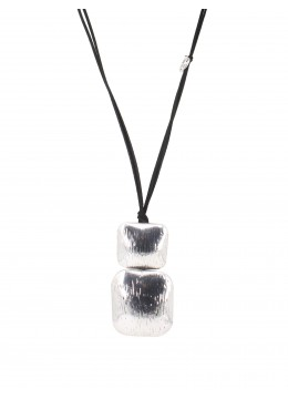 Rope Necklace W/ Abstract Cubed Figurine Pendant