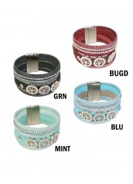Rhinestone Wrap Magnetic Bracelet W/ Life Tree Charms